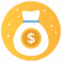 cash, currency, dollars, finance, money, money bag icon