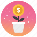 financial growing, money development, money growth, money plant, money production icon