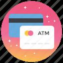 atm card, bank card, credit card, debit card, visa card