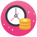 business productivity, money, time is money, time management, word efficiency icon
