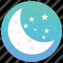 dark night, moon with stars, nature, night view, shining stars icon