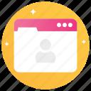 personal profile, personal website, profile page, web profile, www icon