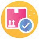 checked box, package, parcel delicate, parcel protection, safe delivery, secure delivery, verified parcel icon