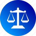 balance, gradient, justice, law, legal, scale icon