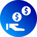 earn, gain, gradient, money, payment, profit, toss coin icon