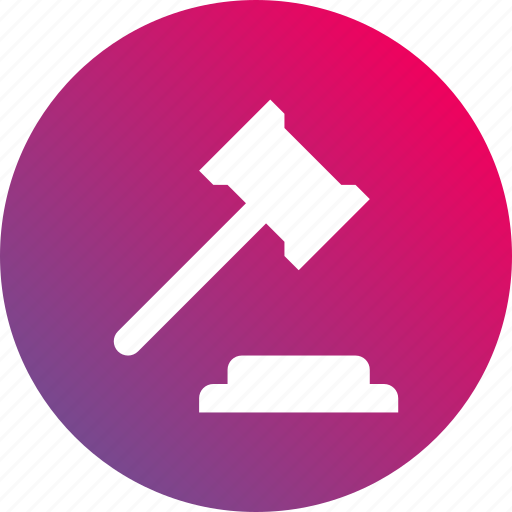 gavel, gradient, justice, law, legal, legal decision icon