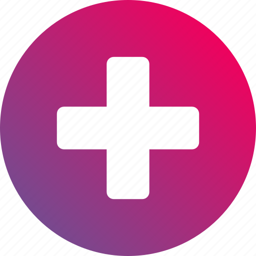 clinic, cross, gradient, health, hospital icon