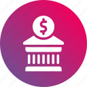 bank, building, business, dollar sign, gradient, investiment, money icon