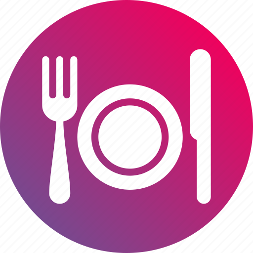 food, fork, gradient, knife, meal, plate, restaurant icon