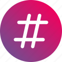 gradient, hash, hashtag, number, sharp icon