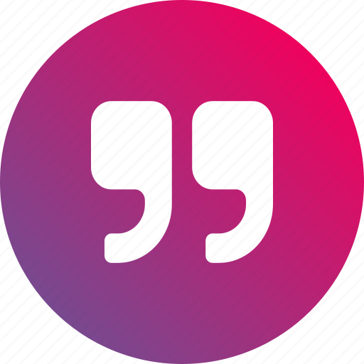 author, citation, gradient, opinion, paragraph, quote, review icon