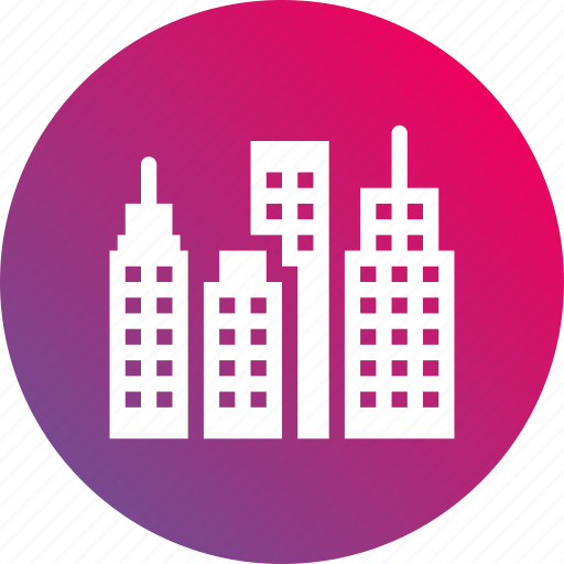 buildings, business, city, gradient, skyline icon