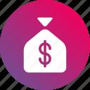 bank, cash, dollar sign, gradient, money, money bag icon