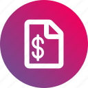 document, dollar sign, gradient, money, paper, report icon