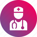 doctor, gradient, health, nurse, stethoscope icon