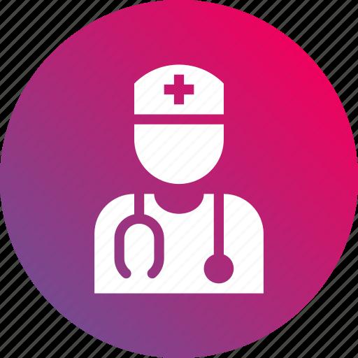 doctor, gradient, health, nurse, stethoscope icon