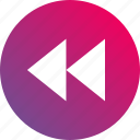 audio controls, fast, gradient, playback, rewind, video controls icon