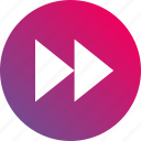 audio controls, fast, faster, forward, gradient, playback, video controls icon