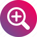 area zoom, gradient, magnifier, magnify, plus, zoom in, zoom out icon