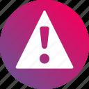 alert, danger, gradient, issue, notification, problem icon