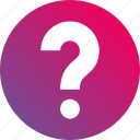 ask, faq, gradient, help, hint, question mark icon