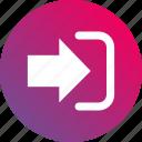 arrow, enter, gradient, inside, login icon