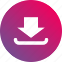 arrow, down, download, gradient, save icon