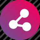 connect, connected, distribute, dots, gradient, participate, share