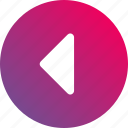 arrow, back, gradient, navigation, previous icon