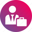 briefcase, gradient, sales, suit, suitcase, vendor