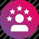 5 stars, career, gradient, profile, skills, stars, talent icon