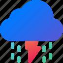 cloud, data, rain, storage, thunder, weather