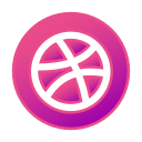 circle, dribbble, gradient, gradient icon, icon, social media icon