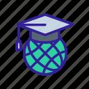 cap, college, education, globe, graduation, university