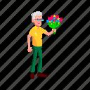 old, elderly, man, giving, flower, bouquet, grandfather
