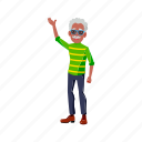 stylish, old, elderly, man, wearing, sunglasses, waving