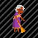 indian, elderly, lady, senior, sweeping, floor, broom