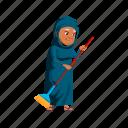 aged, islamic, woman, senior, sweeping, backyard, floor