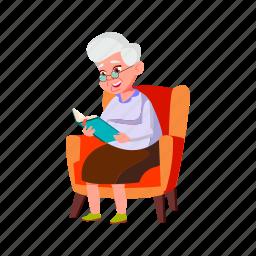 happy, lady, elderly, sitting, living, grandmother, room