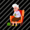 old, grandmother, knitting, socks, granddaughter, house, grandma