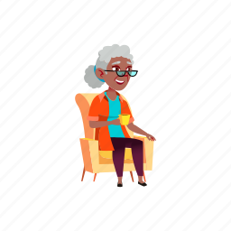 smiling, aged, woman, sitting, armchair, drink, grandmother