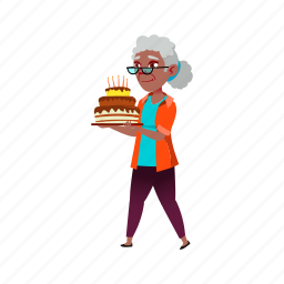 old, granny, african, grandmother, lady, carrying, birthday
