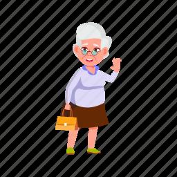 cheerful, elderly, woman, grandmother, mature, greeting, friends