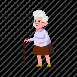 shocked, elderly, senior, lady, look, increased, rates