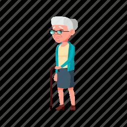 old, lady, elderly, walking, problem, street, grandmother