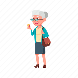 happy, old, elderly, woman, make, pharmacy, payment