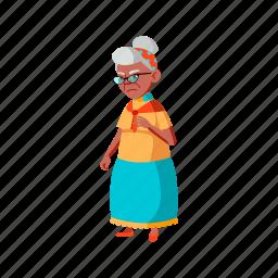 sad, grandmother, senior, looking, products, prices, supermarket