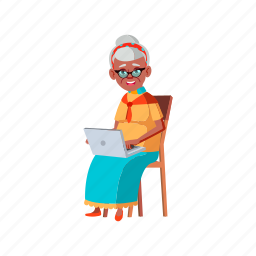 happy, aged, woman, senior, laughing, laptop, from