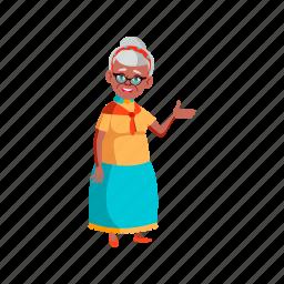 elderly, grandmother, senior, lady, invites, visit, house