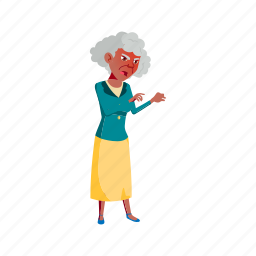 old, angry, elderly, woman, shouting, grandmother, kids